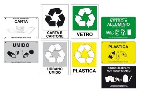 Etichette per raccolta differenziata