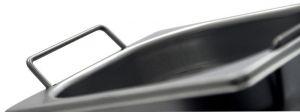 GST1/2P100M Contenitore Gastronorm 1/2 h100 con maniglie in acciaio inox AISI 304