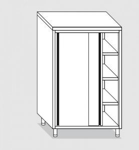 34204.13 Armadio verticale past cm 130x60x160h porte scorrevoli - 3 ripiani interni regolabili