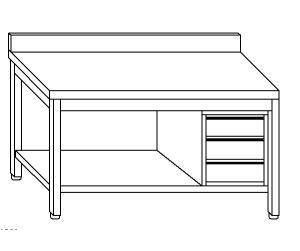 TL5366 Tavolo da lavoro in acciaio inox AISI 304 cassettiera dx alzatina ripiano 180x70x85