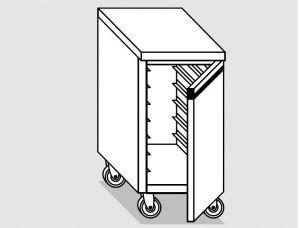 46800.04 Tavolo armadio agi 1 p/battente teglie gn1/1 ruote cm 40x70x84h