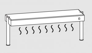 64011.12 Ripiano di appoggio tavoli 1 ripiano caldo 2 gambe cm 120x35x40h