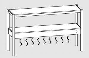 64101.17 Ripiano di appoggio tavoli 1 ripiano sup neutro cm 170x35x70h 1 ripiano inf caldo