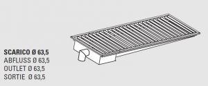 85010.12 Piletta sifonata a pavimento da cm 120x30x12h con filtro e scarico verticale laterale