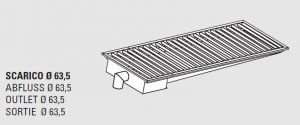85010.24 Piletta sifonata a pavimento da cm 240x30x12h con filtro e scarico verticale laterale