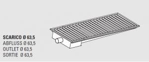 85011.12 Piletta sifonata a pavimento da cm 120x30x12h con filtro e scarico orizzontale laterale