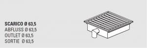 85100.04 Piletta sifonata a pavimento da cm 40x40x12h con filtro e scarico verticale laterale