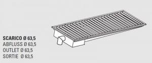 85110.26 Piletta sifonata a pavimento da cm 260x40x12h con filtro e scarico verticale laterale