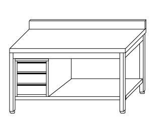 TL5382 Tavolo da lavoro in acciaio inox AISI 304 cassettiera sx alzatina ripiano 180x70x85