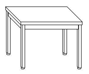 TL8007 Tavolo da lavoro in acciaio inox AISI 304 su gambe dim. 120x80x85 cm (prodotto in italia)