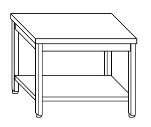 TL8019 Tavolo da lavoro in acciaio inox AISI 304 su gambe e un ripiano dim. 80x80x85 cm (prodotto in italia)