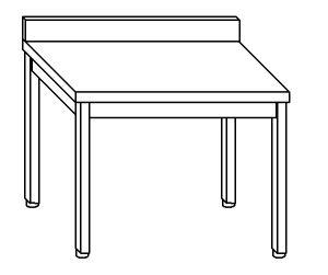 TL8033 Tavolo da lavoro in acciaio inox AISI 304 su gambe con alzatina dim. 80x80x85 cm (prodotto in italia)