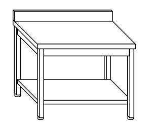 TL8056 Tavolo da lavoro in acciaio inox AISI 304 su gambe con alzatina e ripiano dim. 150x80x85 cm (prodotto in italia)