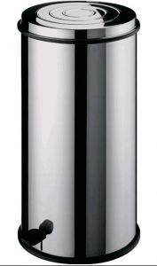 TAV 4663 Pattumiera cilindrica acciaio inox con cestello interno e pedale 80 litri