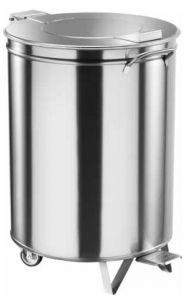 AV4668 Stainless steel waste bin with lid and wheels 100 liters with pedal