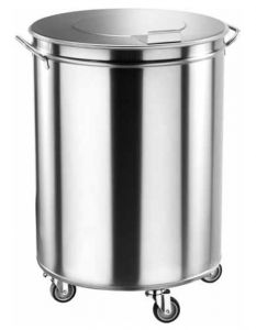 TAV 4669 Cubo de basura con ruedas cilindrico acero inox 100 litros