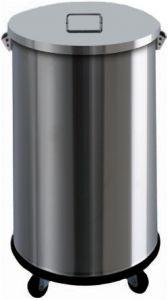 AV4671 Stainless steel dustbin on wheels manual opening 63 liters