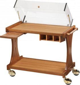 CL2351W Carrello per dolci formaggi legno 2 piani cupola Wengé 106x55x95h