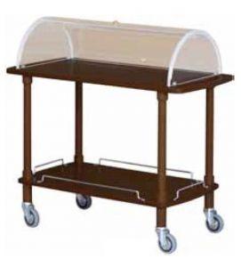 CLC2012W Carrello servizio legno wenge 2 piani cupola plx 110x55x107h