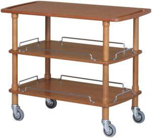 CLP2003 Carrello servizio legno noce 3 piani 110x55x89h