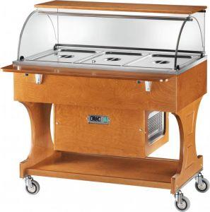 TCLR 2787 Carrello legno refrigerato (+2°+10°C) 3x1/1GN cupola/pianetto