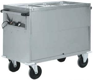 CT1771 Carro termico baño maría acero inox AISI 304 gabinete 3x1/1GN 130x68x92h