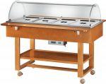 ELC2832 Espositore carrellato legno caldo bagnomaria (+30°+90°C) 4x1/1GN cupola plx