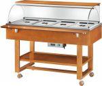 ELC2834 Carro espositore legno caldo bagnomaria (+30°+90°C) 4x1/1GN cupola pianetto