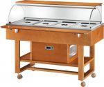 TELR 2826BT Carrello espositore legno refrigerato (-5°+5°C) 4x1/1GN cupola/pianetto