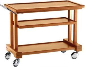 LP1050 Carrello servizio legno massello tinto noce 3 piani 115x55x82h