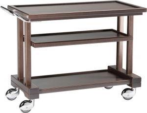 LP1050W Carrello servizio legno massello Wengé 3 piani 115x55x82h