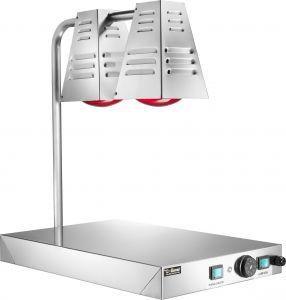PCI4717 Placa caliente acero inox con 2 lámparas de infrarrojos 60x40h68h