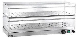 VBR4786 Vitrina caliente sobremesa 2 pisos acero inoxidable 85x35x25h