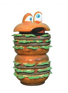 SR014 Hamburger gettacarte - gettacarte pubblicitario 3D per gastronomia altezza 133 cm