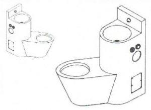 LX3660 Professional Lock combinado inodoro + lavabo - Versión izquierda - pulido