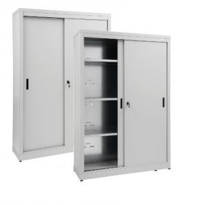 IN-Z.690.12.60 Armoire de rangement à portes coulissantes en zinc plastifié 120x60x180 H