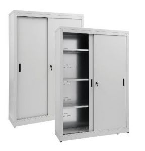 IN-Z.690.18.60 Armoire de rangement à portes coulissantes en zinc plastifié 180x60x180 H