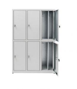 IN-Z.694.07 Meuble à vêtements 6 portes en zinc plastifié superposé - 120x 40x180 H