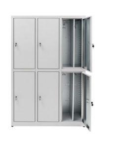 IN-Z.694.07.50 Meuble à langer 6 portes en zinc plastifié superposé 120x50x180 H
