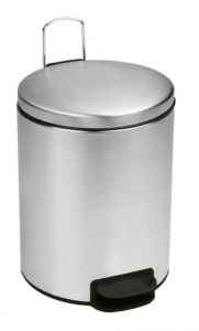T112039 Cubo de basura con pedal con tapa silenciosa acero inox satinado 3 litros