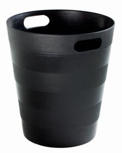 T907121 Papelera en polipropileno reciclado negro 12 litros (múltiplos 20 pcs)