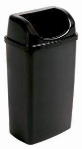 T907501 Cubo de basura con tapa embudo en polipropileno negro
