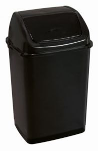 T909535 Cubo de basura con tapa basculante de polipropileno negro de 35 litros