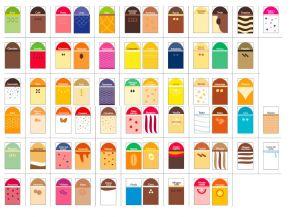 ITP384-ES Conjunto de etiquetas para etiquetas de alimentos de buen gusto en español: 68 sabores + 5 neutros