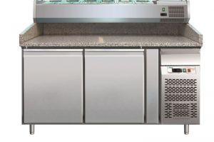 G- PZ2600TN - Encimera de pizza refrigerada con dos puertas en acero inoxidable