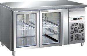 G-GN2100TNG - Tavolo Refrigerato Ventilato GN1/1 Temp +2/+8° C Porta Vetro