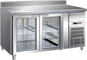 G-GN2200TNG - Banco Tavolo Ventilato Inox con Alzatina Temp. -2/+8 °C 3 Porte a Vetro