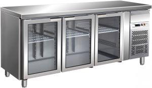 G-GN3100TNG - Mesa refrigerada ventilada. Temperatura +2/+8°C - Tres puertas de vidrio