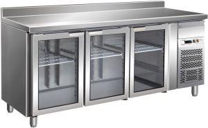 G-GN3200TNG - Tavolo Banco Refrigerato Inox con Alzatina Temp. +2/+8 °C 3 Porte a Vetro