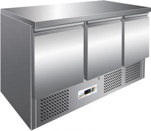G-S903TOP - Tavolo Frigo Refrigerato. Piano di lavoro In Acciaio inox. 3 Porte